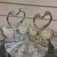 Italian Pair of Swan Silver/ Gold Ceramic Diamante with Pearl Wedding Xmas Gift
