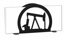 SWEN Products OIL WELL RIG DERRICK PUMP Black Metal Letter Napkin Card Holder