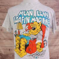 "VTG SUN SPORTSWEAR ""MEAN LEAN LOAFIN' MACHINE"" FUNNY SINGLE STITCH USA T SHIRT L"