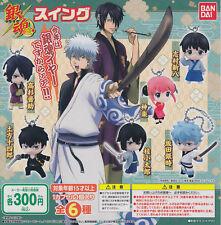 "Gin Tama Swing ""It's Gin Tama Year!"" Strap Complete Set (6) Gashapon Bandai"