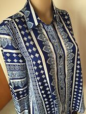 New Chic top blouse blue white long sleeve polyester M