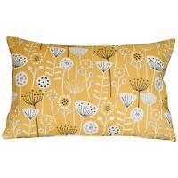 "Scandi Floral Style XL Rectangular Cushion. 100% Cotton 23x15"" Ochre Yellow/Grey"