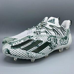 New Adidas Adizero 11.0 Comics Football Cleats White Green Men's Size 10 Display