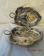 PAIR OF jAPANESE SILVER kUYDEA 800 LEAF DISHES ART DECO