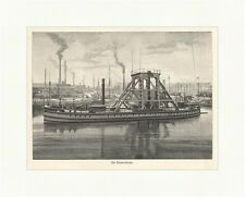 A diver Bay Harbour Works Ships technology fireplaces Wood Engraving E 2769