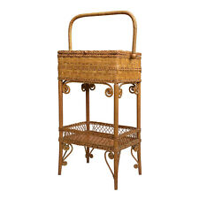Antique Boho Chic Wicker Sewing Stand Basket Table by Heywood Wakefield