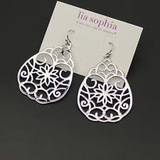 Lia sophia jewelry silver plated hollow hoop earrings polished huge drop dangle