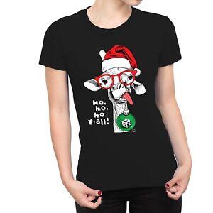 1Tee Womens Ho Ho Ho Y'all Funny Hipster Giraffe Christmas T-Shirt