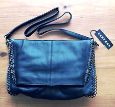 ladies black genuine Soft leather bag BRAND NEW Brass chain fold over bag Hot