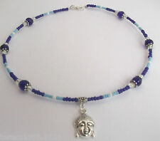Blue glass beaded buddha charm memory wire wrap around choker necklace hand made