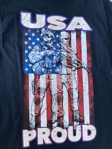 mens t shirts USA proud Red white and blue print on black T-shirt size medium