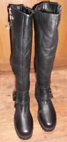 RIVER ISLAND BLACK LEATHER FUR LINED KNEE HIGH BOOTS SIZE UK 8 EU 41 NEW WITH TA