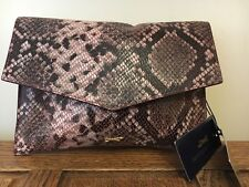 New Paul Costelloe Flutterby Designer Clutch Bag Pink Leather RRP£79 Holiday BN