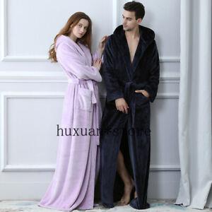 Men Plus Siz Long Coral Fleece 40-120KG Hooded Flannel Cozy Bath Robe Sleepwear