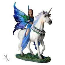 Blue Fairy of the Realm Of Enchantment Riding White Unicorn Figurine