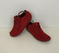 Clarks Unstructured Funny Dream Shoes Red Suede Sz 7.5 UK Ladies