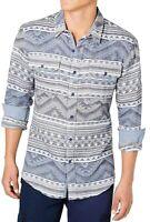 American Rag Mens Shirt Blue Size Medium M Button Down Western Geo $45 170