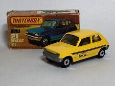 "Matchbox Superfast No 21 Renault 5Tl Yellow ""Le Car"" Lesney 1978 w Original Box"