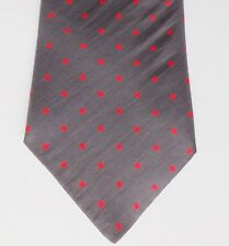 Silver-grey silk tie with red polka dots Made in Britain by Lloyd Attree Smith