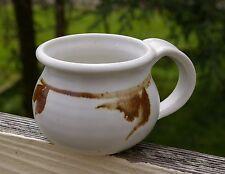 White Hand Spun Pottery Art Coffee Mug Cup Signed Lorna / Larna Leaf Leaves