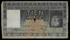 New ListingWorld Paper Money - Netherland 10 Gulden 1938 P49 @ Fair Cond. With Center Hole