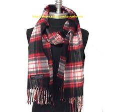 Women's 100% CASHMERE SCARF Check Plaid Black/Red/Pink Scotland Warm SOFT Wrap