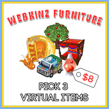 PICK 3 Webkinz VIRTUAL FURNITURE ITEMS - Beds, Slides, Cars, Etc - LIST IN DESC