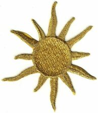 "4 1/4"" Celestial Metallic Gold Sun embroidery patch"