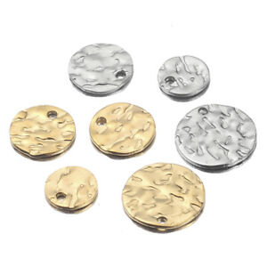 20X Round Gold Plated Stainless Steel Earrings Charms Hammered Pendants Stamping