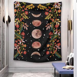 Moon Phase Tapestries Flower Vine Moonlit Garden Astrology Boho Art Hang Picture
