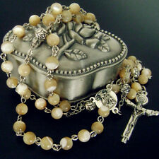 New Nice Mother-of-Pearl Gift Rosary BEAD Italy Crucifix Cross Necklace Rose Box