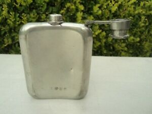 Vintage Whiskey Concord Flask 6 oz Made in Sheffield England Sterling Silver??