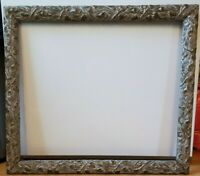 "Rare Antique Silver Leaf Arts Crafts Carved Picture Frame Fits 22"" X 19"" picture"