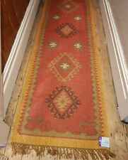 Wool with Jute Kilim rug 60x245cm Quality Hand Made runner Rust, Beige and Ochre