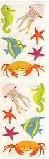 Mrs. Grossman's Stickers - Sea Life - Seahorse, Crab, Jellyfish, Fish - 4 Strips