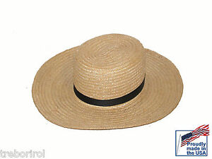 New Authentic Amish Straw Hat size 7 7/8 USA Made