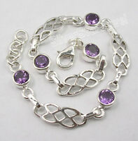 """.925 Pure Silver FACETED AMETHYST WELL MADE Cast Bracelet 7.7"""" UNUSUAL"""
