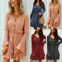 Women's Ruffle Long Sleeve V-neck Button Dresses Ladies Holiday Pullover Dress