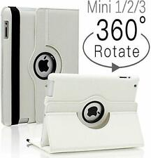 WHITE 360 DEGREE ROTATING SMART STAND CASE COVER FOR APPLE iPAD MINI 1/2/3
