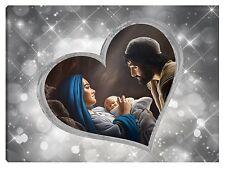 Quadro moderno 100x70 sacra famiglia madonna gesù capezzale argento stelle cuore