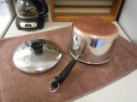 1992 REVERE WARE US Stainless/Copper Clad 3 Qt Saucepan & Lid VERY CLEAN & SHINY