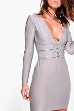 BOOHOO INDIA WAIST DETAIL BODYCON DRESS IN SILVER BNWT Size 12