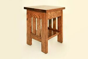 Stand, Plant, Lamp, Nightstand, End Table, Amish, Wood, Oak, Handmade, Small
