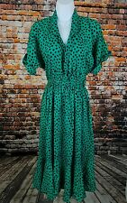 Vintage Milanzo V-neck Dress Sz Medium Teal Black Spots HH