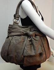Nica Brown Bow Tie Front Embroidery Large Tote Shoulder Bag Handbag Purse