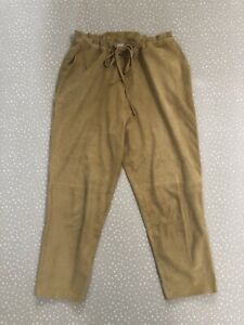 Baserange Suede Leather Pants Drawstring Natural Colour Perforated Size Small