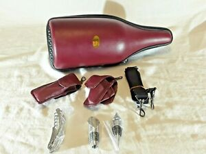 Caddy O Wine Bottle Carrier Leather Cooler Maroon Insulated Hand Strap w/tools