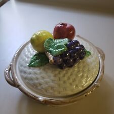Fitz And Floyd basket weave fruit bowl with lid