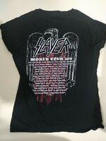 Rare Slayer 2011 World Tour Hate Worldwide Design + Venues Ladies T SHIRT Large
