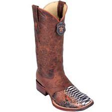 Los Altos COGNAC Python Square Toe TPU Rubber Sole Western Cowboy Boot EE